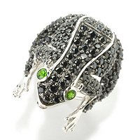 SS BLACK SPINEL FROG RING W/ CHROME DIOPSIDE