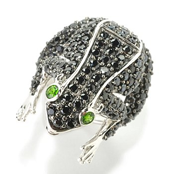 126-378 - Gem Treasures Sterling Silver 6.05ctw Black Spinel & Chrome Diopside Frog Ring