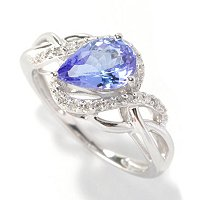 14K WG TANZANITE RING W/ WHITE DIAMOND