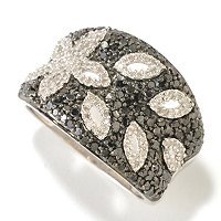 SS 1CTW BLACK & WHITE DIAMOND FLOWER DESIGN RING