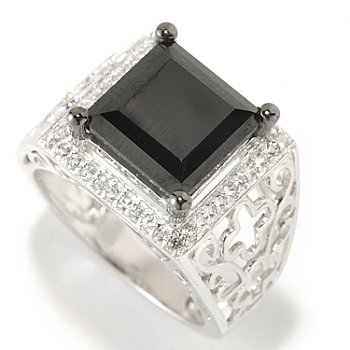 126-383 - Gem Treasures Sterling Silver 10mm Black Spinel & White Topaz Square Wide Ring