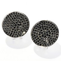 SS BLACK SPINEL ROUND EARRINGS