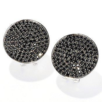 126-384 - Gem Treasures Sterling Silver 3.34ctw Black Spinel Round Earrings