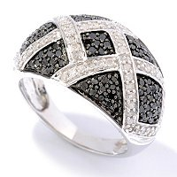 SS 1CTW BLACK & WHITE DIAMOND CRISS CROSS RING