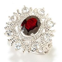 SS WHITE TOPAZ WITH GARNET RING