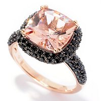 14K YG CUSHION MORGANITE RING WITH BLK SPINEL ACCENTS