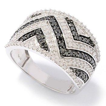 126-391 - Diamond Treasures Sterling Silver 0.76ctw Black & White Diamond Zig-Zag Ring