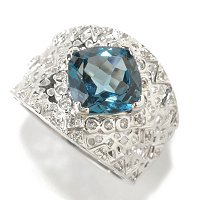 SS WHITE TOPAZ WITH BLUE TOPAZ RING