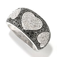 SS .75CTW BLACK & WHITE DIAMOND HEART RING