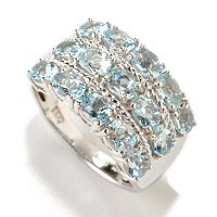 SS AQUAMARINE 3 ROW RING