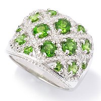 SS CHROME DIOPSIDE RING W/ WHITE ZICRON