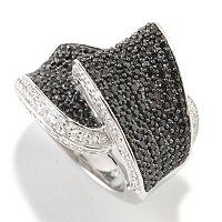 SS BLACK SPINEL & WHITE ZICRON RING