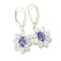 SS TANZANITE & WHITE ZICRON STAR EARRINGS