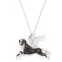 SS BLACK SPINEL FLYING HORSE PENDANT W/ CHAIN