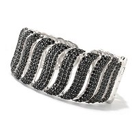 SS BLACK SPINEL HINGED BANGLE