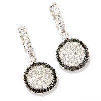 BLTA SS/PLAT SIMULATED BLACK & WHITE PAVE DISK DROP EARRINGS
