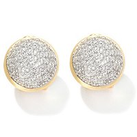 SB SS/CHOICE PAVE TEXTURED ROUND BUTTON EARRINGS W/ OMEGA BACK