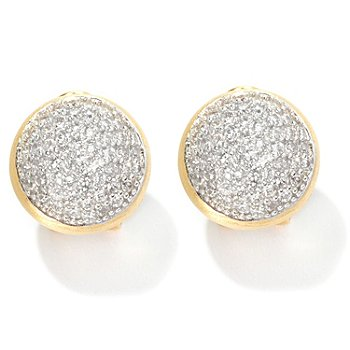 126-420 - Sonia Bitton for Brilliante® 2.20 DEW Pave Set Button Earrings w/ Omega Backs