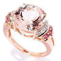 14K RG MORGANITE CIRCLE RING W/ Pink Tourmaline ACCENTS