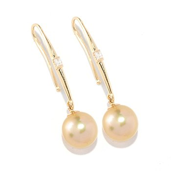 126-435 - 14K Gold 10-11mm Golden South Sea Cultured Pearl & Diamond Earrings