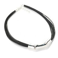 "SEMPRESILVER 18"" + 2"" EXT BLACK MULTI CORD NECKLACE W/SLIDE"