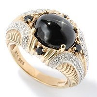 SS/P TWO-TONE RING BLACK STAR DIOPSIDE w/ BLK SPINEL & WHT ZIRCON