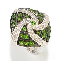 SS/PLAT & BLK RHOD RING EXOTIC GEMSTONE & DIAMOND ACCENT SWIRL DOME