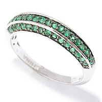 BLTA SS/PLAT ROUND CUT PAVE HALF BAND RING