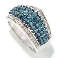 SS 1.3CTW BLUE & WHITE DIAMOND RING