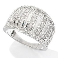 SS 1CTW ROUND & BAGUETTE DIAMOND RING