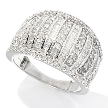 126-486 - Diamond Treasures Sterling Silver 1.00ctw Round & Baguette Diamond Ring