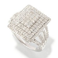 SS 1CTW SQUARE DIAMOND RING