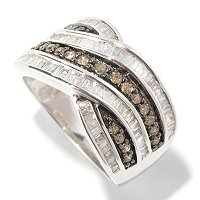 SS 1CTW CHAMPAGNE & WHITE DIAMOND RING