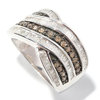 126-492 - Diamond Treasures Sterling Silver 1.00ctw Champagne & White Diamond Crossover Ring