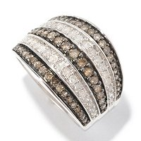SS 1CTW CHAMPAGNE & WHITE DIAMOND WIDE BAND RING