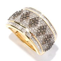 14K YG 1CTW CHAMPAGNE & WHITE DIAMOND WIDE BAND RING