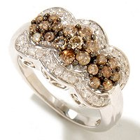 SS 1CTW THREE CIRCLE CHAMPAGE & WHITE DIAMOND RING
