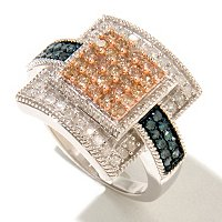 SS 1CTW BLUE, CHAMPAGNE & WHITE DIAMOND SQUARE RING