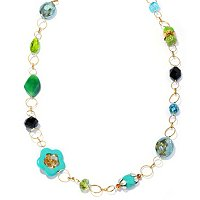 GOLDTONE GREEN-BLUE NECKLACE