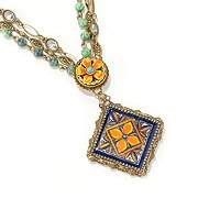 GOLDTONE BLUE-ORANGE TILE NECKLACE