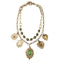 GOLDTONE GREEN INTAGLIO CHARM NECKLACE