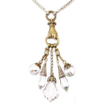 "126-528 - Sweet Romance™ Two-tone 25"" 1930s Inspired Crystal Dangles Necklace"