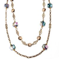 GOLDTONE LONG CRYSTALS NECKLACE