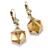 GOLDTONE CRYSTAL DANGLE EARRINGS