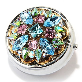 126-531 - Sweet Romance™ Silver-tone Crystal Jeweled Pill Box