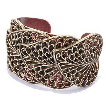 126-535 - Sweet Romance™ Two-tone Textured Leaf Cuff Bracelet