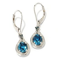 SS/PLAT EAR LONDON BLUE TOPAZ & BLUE DIA