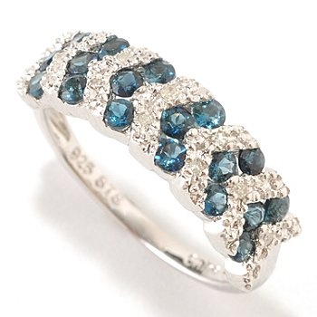 126-538 - NYC II 0.50ctw Indicolite & Diamond Accent Chevron Band Ring