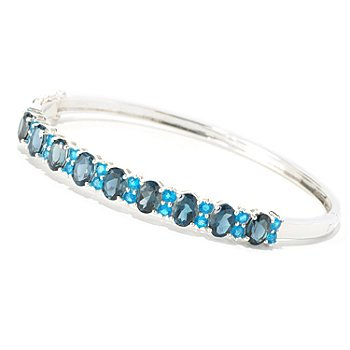 126-569 - NYC II 9.03ctw London Blue Topaz & Neon Apatite Bangle Bracelet