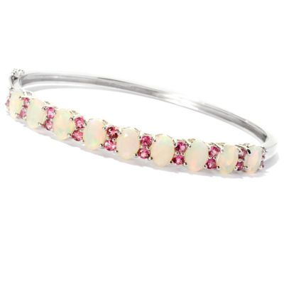 126-572 - NYC II Opal & Pink Tourmaline Hinged Bangle Bracelet